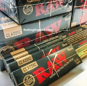 4x-Packs-RAW-ALL-NATURAL-BLACK-Double-Pressed-CLASSIC-1-1-4-Size-ROLLING-PAPERS