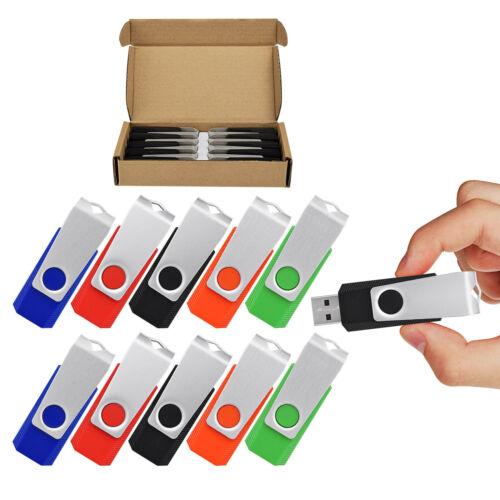 10PCS 32GB USB 2.0 Memory Stick Flash Drive Swivel Pen Data Storage Thumb Disks