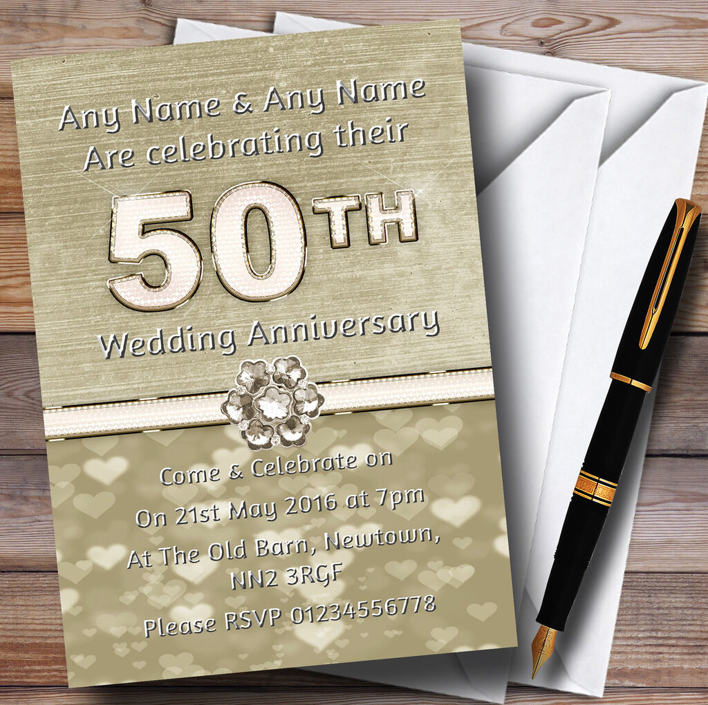 Titanium Gold And Weiß 50Th Personalised Anniversary Party Invitations