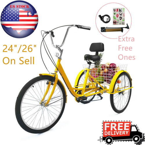 "24//26/"" Adult Aluminum Frame Tricycle Trike 1//7 Speed 3-Wheel W// Shopping Basket"