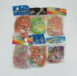6-Packs-Loom-Bands-3000-Colourful-amp-Striped-Rubber-Bands-For-Making-Bracelets