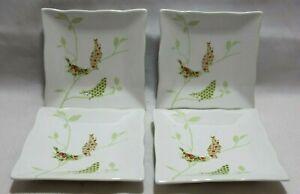 222-Fifth-Chintz-Birds-Floral-Porcelain-Square-Appetizer-Plates-Set-of-Four-New