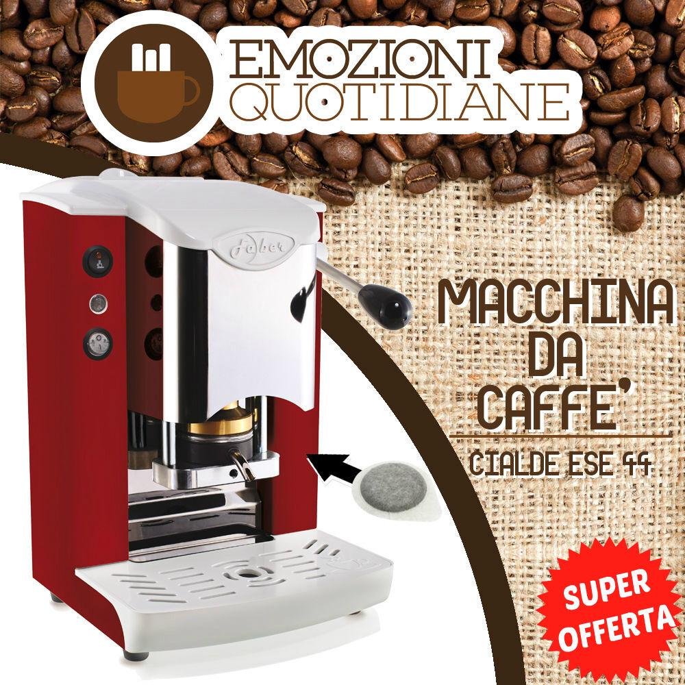 MACCHINA CAFFE per CIALDE CIALDE per CARTA 44MM FABER SLOT INOX NUOVO COLORE ROSSA 781490