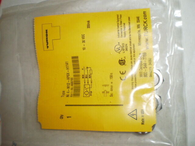 TURCK NI4-M12-AP6X-H1141 PROXIMITY SWITCH 10-30 VDC 200mA 4606700 NEW NIB
