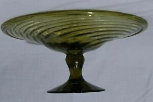 Hand-Blown-Studio-Art-Glass-Cake-Stand-Platter-Bowl-Green-Spiral