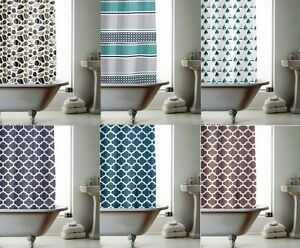 Image Is Loading Modern Bathroom Shower Curtains With Ring Hooks Multi