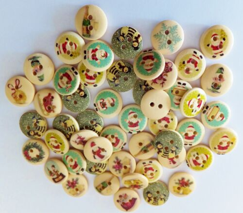 50pcs Christmas Buttons Sewing-Cardmaking-15mm-UK Cream 2 Hole