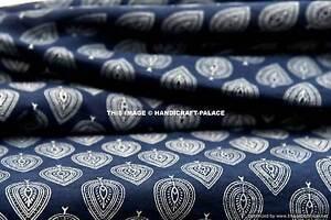 2-3m-Indigo-Blau-Baumwolle-Voile-Hand-Blockdruck-Stoff-Natur-Farbstoffe-Sanganer
