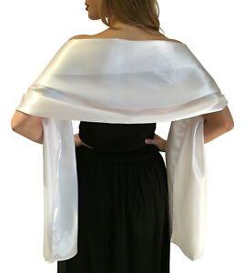 White-Satin-Shawl-Stole-Pashmina-Scarf-Bridal-Wedding-Wrap-Bridesmaids-S-M-L-XL