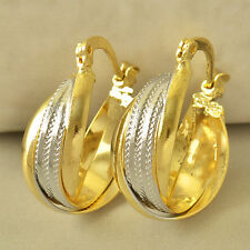 Stylish 9K Yellow/White Gold Filled Embossed Womens Hoop Earrings,Z5291