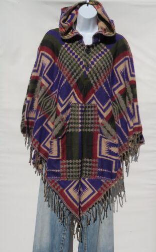 Håndlavet Fringe Boho Bohemian 2 Pocket Uld Størrelse Yak Hood Button 1 Blend Poncho 0Bw4xgqHn