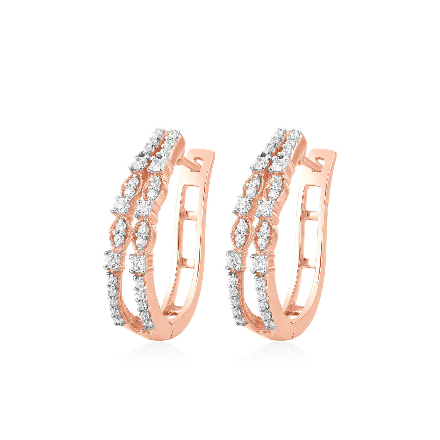 dd1a475ff6277 0.47ct Brilliant Prong Set Natural Diamond Hoop Earrings Solid 10k ...