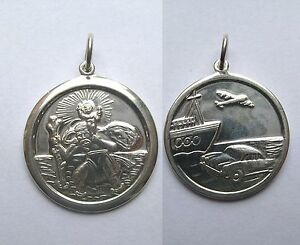 ARGENT-STERLING-grand-rond-25mm-Double-Face-Pendentif-St-Christophe-6-5G