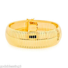14K GOLD & BZ BIG FLEX OMEGA SOFT CUFF BANGLE BRACELET SZ 7 INCH  ITALIAN 30 GR