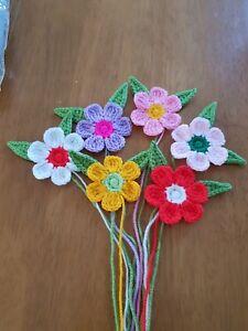6x Grand Handmade Crochet Fleur 6x et laisser 6-6.5cm  </span>