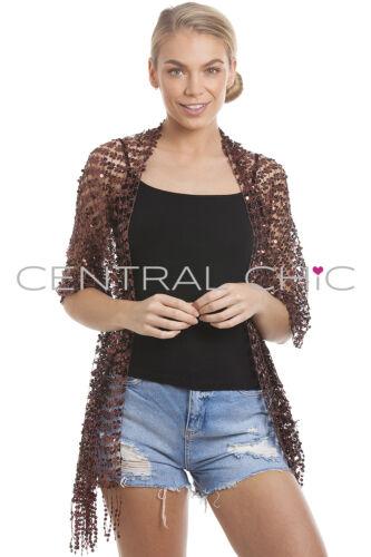 Central Chic Funkelnd Schal Paillette Schal Abend Schal Silber Gold Rot