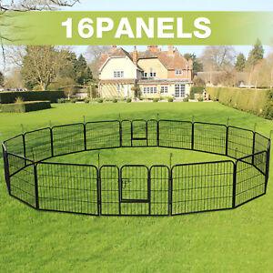 16-Panel-Heavy-Duty-Metal-Cage-Crate-Pet-Dog-Playpen-Exercise-Pen-Fence-Kennel