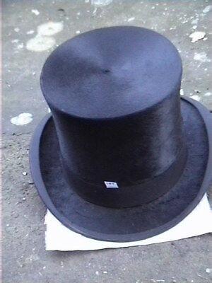 Candido Antico Woodrow Glasgow Nero Silk Top Hat Sz 7 1/8.-