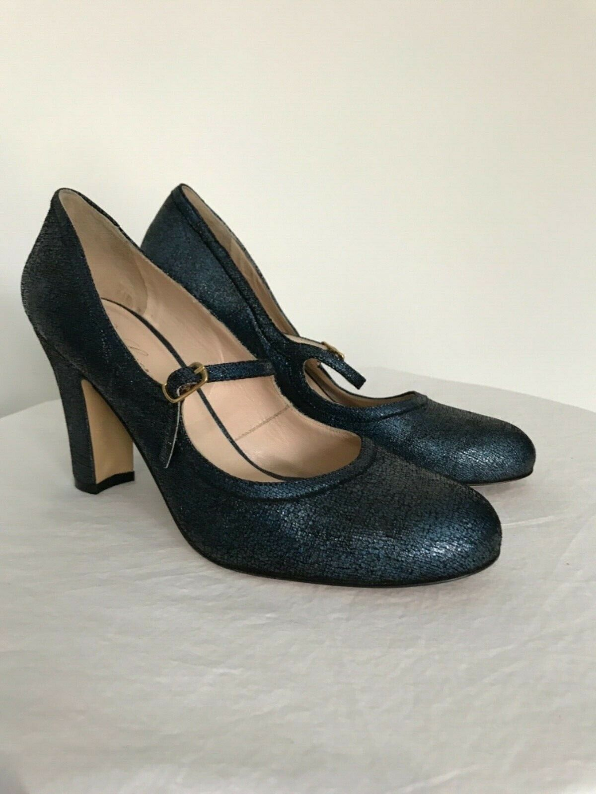 NEW Anthropologie Lenora bluee Shimmer Leather Heels Size 38