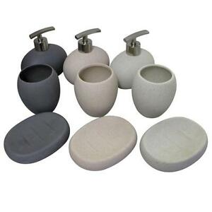 stone coloured bathroom accessories. 3pc Stone Effect Bathroom Set 3 Colours Toothbrush  Holder Soap