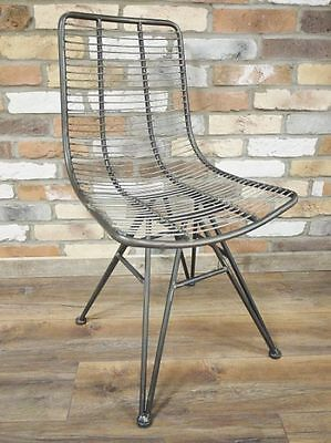 Metal Industrial Chair or Set of 2 Dining Kitchen Office Wire Chairs Retro Loft