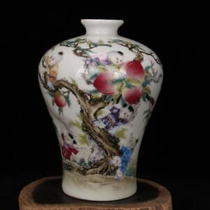 Chinese-old-porcelain-vase-Pink-Nine-sons-climbing-peach-plum-vases-mei-Bottle