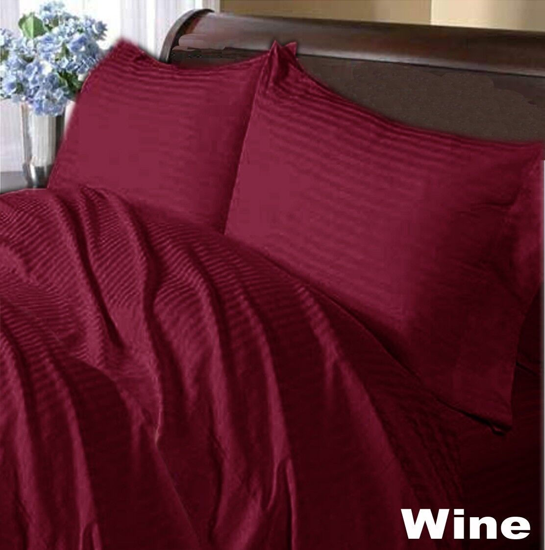 WINE STRIPE FITTED SHEET DUVET SET SKIRT 1000TC 100%COTTON CHOOSE ITEMS & SIZE