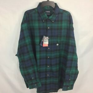 Chaps Performance Flannel Button Down Shirt Moisture Wicking Teal Plaid Big Tall