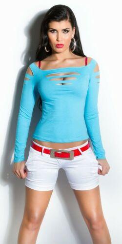 Dance Top Langarm Risse Slashed Shirt Gogo Clubwear Tank Hot türkis  #4432 124