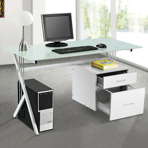 Deluxe computer desk with side drawer and glass top for for Best home office pc uk