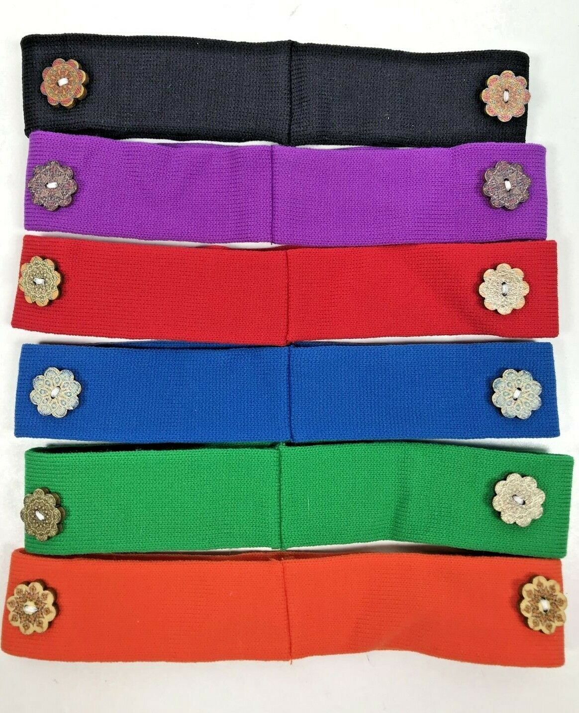 Lot of 6 Headbands with Boho Buttons for Face Mask Straps Lot A