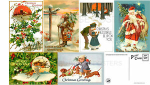 Christmas Cards Pack Of 6 Vintage Style Xmas Postcards Art Deco