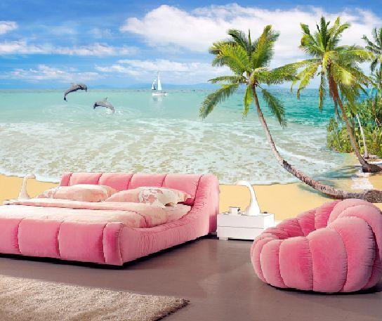 3D Der Strand, Palmen 23 Fototapeten Wandbild Fototapete BildTapete Familie DE