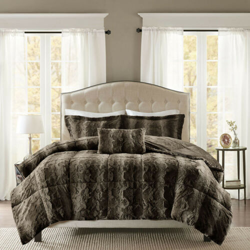NEW! ~ SUPER SOFT & PLUSH WARM COZY LUXURY BROWN TAUPE FAUX FUR COMFORTER SET