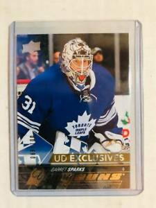 2015-16-Upper-Deck-Exclusives-480-Garret-Sparks-YG-Young-Guns-Maple-Leafs