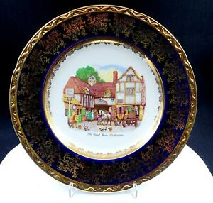 WEATHERBY-HANLEY-ENGLAND-ROYAL-FALCON-WARE-COBALT-amp-GOLD-FLORAL-10-7-8-034-PLATE