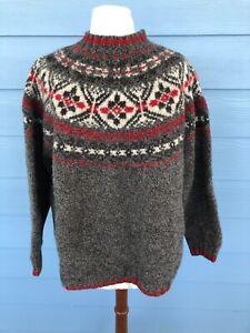 Eddie-Bauer-Nordic-Fair-Isle-Sweater-Womens-XL-Crewneck-Wool-Red-Gray-Winter