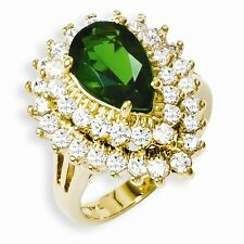 Jackie Kennedy Gold-Plated Swarovski Crystal And CZ Cocktail Ring Size 9