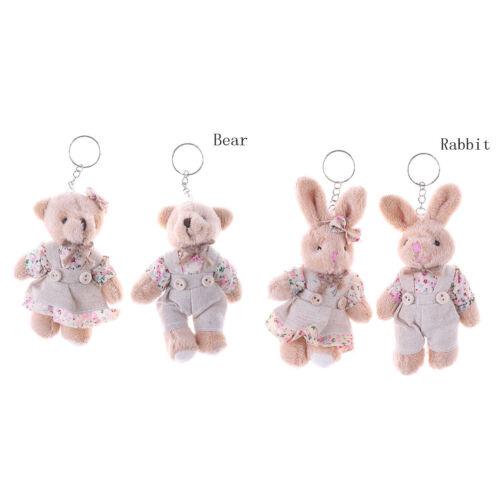 1 Pair Couple Bear Rabbit Plush Toy Florals Cloth Rabbit Bunny Doll Key Pendants
