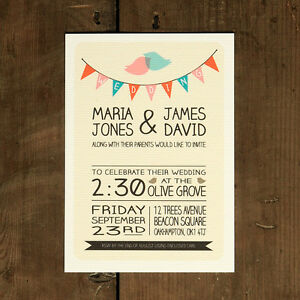 Whimsical Lovebirds Wedding Invitation Bunting Retro Modern