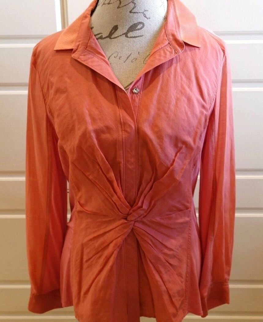 Elie Tahari - Salmon peach tone button (snap) down top with knot detail