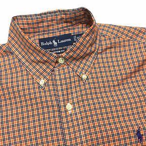 RALPH-LAUREN-Mens-15-M-Custom-Orange-Blue-Plaid-Long-Sleeve-Button-Down-Shirt