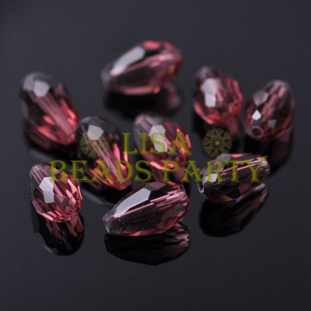 New 30pcs 12X8mm Faceted Teardrop Crystal Glass Spacer Loose Beads Fuchsia
