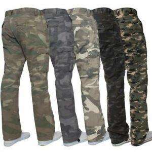 Kruze-Uomo-Militare-Pantaloni-Camouflage-Cargo-Mimetico-Casual-Lavoro