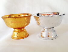 VINTAGE GOLD SILVER TRAY BOWL ALTAR FOOD BUDDHA AMULET THAI HOME VASE SPA DECOR