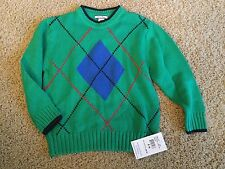 NWT Hartstrings Green Argyle Sweater Size 5/6 Boys NEW Diamond Pattern (lsch)