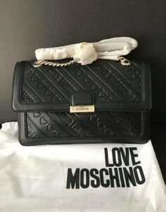 0b01e7c627ef Image is loading NWT-Love-Moschino-Ladies-Heart-Embossed-Leather-crossbody-