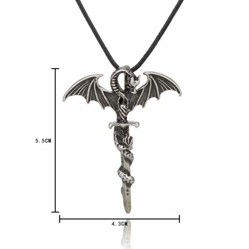 Vintage Glow In The Dark Leather Dragon Cross Pendant Necklace Men Jewelry Gift