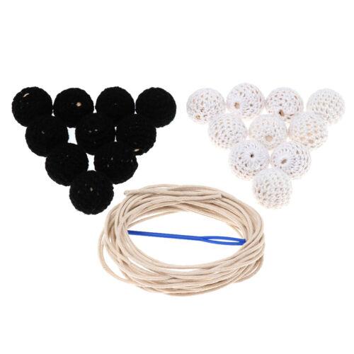 20Pc Wool Crochet Round Wood Felt Ball Beads DIY Craft Jewelry Bracelet 20mm