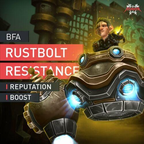 Exalted Shared WoW BfA Rustbolt Resistance Reputation Farm Boost Neutral EU